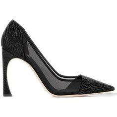 Dior Black Satin and Mesh Pumps