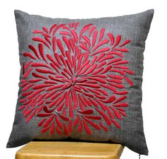 Red Chrysant Pillow Cover Decorative Throw Pillow by KainKain, $25.00