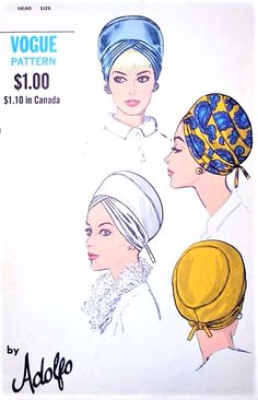 1960s MOD Hats Pattern VOGUE 7461 Featuring Designer ADOLFO Unique Turban Hats Vintage Sewing Pattern