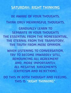 Saturday Right Thinking