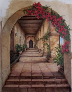 San Diego mural of Spanish Mission in arches with Bougainvillea flowers