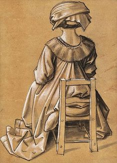 """1500, Hans Holbein der Ältere und Werkstatt Sitzende Frau von hinten gesehen, """"Hl. Thekla"""""""