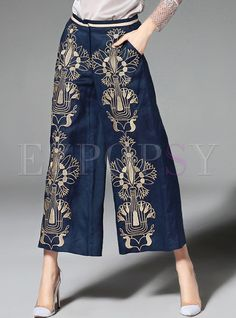 Shop for high quality Oversize Embroidery Wide Leg Pants online at cheap prices and discover fashion at Ezpopsy.com