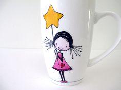 Girl with Stars, Hand Painted Porcelain Coffee Tea Mug Cup, Personalized mug, Funny Mugs, Cut… Porcelain Mugs, Ceramic Cups, Painted Porcelain, Cute Mugs, Funny Mugs, Painted Mugs, Hand Painted, Cow Mug, Cow Gifts