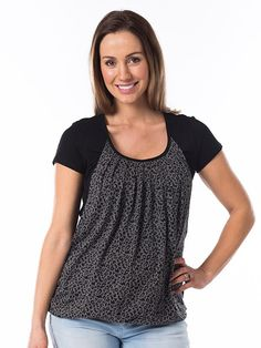 Show your wild side with this eye-catching cheetah-print maternity and breastfeeding top. An understated animal print paired with solid black is a trendy twist on your usual maternity wear! And there's secret breastfeeding openings for your little cub Maternity Wear, Maternity Tops, Breastfeeding Clothes, Buy Clothes Online, Nursing Tops, Short Tops, Bump, Solid Black, Bubble