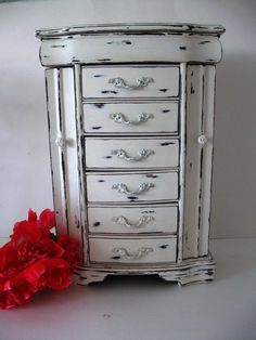 $115. Shabby Chic Jewelry Box. 17 1/4 x 11 1/2 x 6. Large Tall Handpainted Distressed Cottage Chic Beach Chic.
