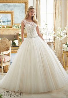 Wedding Dresses and Wedding Gowns by Morilee featuring Crystal Beaded Embroidery on Tulle Ball Gown Colors Available: White/Silver, Ivory/Silver, Light Gold/Silver