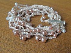 Multistrand pearl cuff bracelet . Boho beaded crochet by ByDrora, $26.00