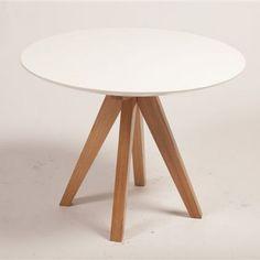 Table à manger ronde en chêne massif laquée blanc Icon
