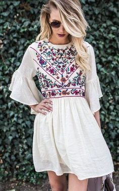 summer outfits  Boho Soul Embroidered Dress