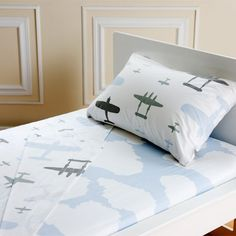Hmmm....make my own airplane top sheet and pillow case and buy a cloud fitted sheet.
