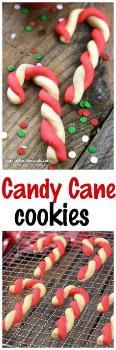 Classic peppermint-flavored Candy Cane Cookies are a Christmas staple around here! A simple peppermint flavored sugar cookie dough is made in two colors and twisted into a pretty candy cane shape.