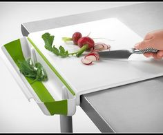 This genius Cutting Board by Progressive International features a clever and functional design worthy of the MoMA Store (and yes, it is available there).  The Collapsible Bin and Board is the perfect solution for your frustration when chopping away, no more food prep scraps getting in the way of your edible food! The board features non-skid feet to keep it in place, and a detachable scrap bin.