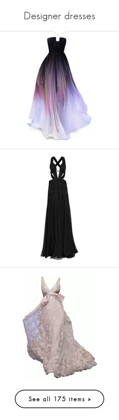 """""""Designer dresses"""" by pink-mochi ❤ liked on Polyvore featuring dresses, gowns, long dresses, doll clothes, baby doll dress, red carpet long dresses, red carpet gowns, babydoll dress, vestidos and roberto cavalli evening gowns"""