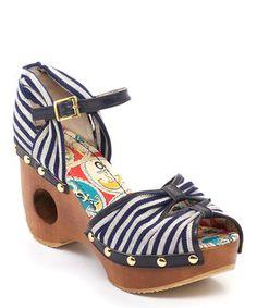 Look at this #zulilyfind! Blue & White Stripe Woodie Wedge by Miss L Fire #zulilyfinds