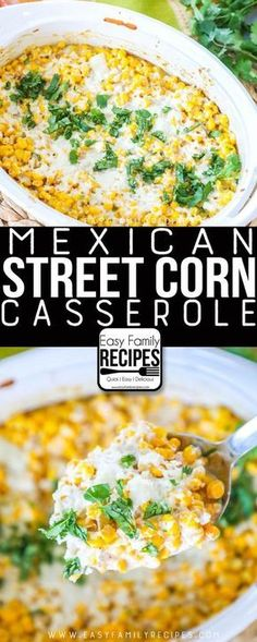 LOVE THS Our FAVORITE Mexican Street Corn Casserole Easy side dish for dinner potluck or neighborhood BBQ easyfamilyrecipes sidedish corn easyrecipe sides Potluck Dishes, Dinner Dishes, Food Dishes, Food For Potluck, Food For Bbq, Recipes For Potluck, Easy Potluck Side Dishes, Potluck Meals, Weeknight Meals