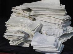 huge lot 140 vintage antique linen cotton damask napkins