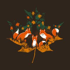 "falling-through-autumn: """"Three Foxes"" by Amelia Senville My Tumblr. Three Foxes t-shirts. """