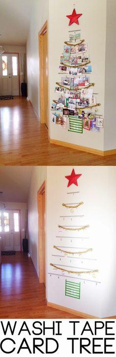 Washi tape Christmas card tree