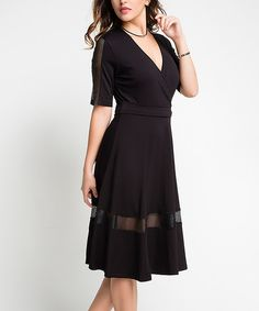 Look at this I'm In Black Mesh Panel Surplice Dress on #zulily today!