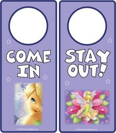 Tinker Bell Sign, Tinker Bell & Peter Pan, Door Hangers - Free Printable Ideas from Family Shoppingbag.com