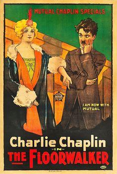 Charles Chaplin and Edna Purviance in The Floorwalker (1916)