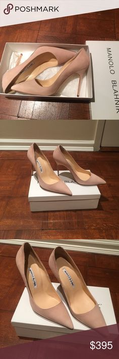Manolo Blahnick BB pump This pair is very special, it is made to order at Neiman Marcus. Manolo Blahnick BB suede pump, color nude blush (beige pink), comes with box. Classic Manolo design, 4 inch heel. Gorgeous. Manolo Blahnik Shoes Heels