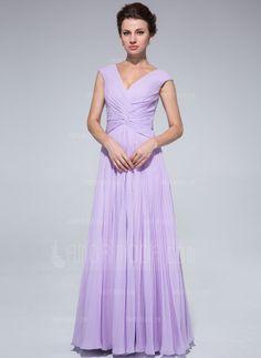 Corte A/Princesa Escote en V Vestido Chifón Vestido de madrina con Plisado (008018973)
