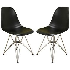 Provide customers and guests a comfortable place to relax with this set of two black durable chairs from Baxton Studio. Each chair features a hard plastic seat supported by a sturdy steel frame, making this a long-lasting addition to a home or office.