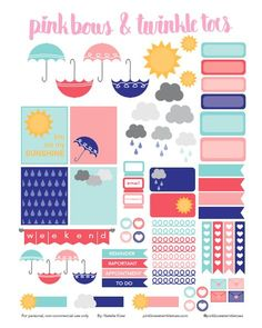 FREE Printable Spring Showers Planner Stickers