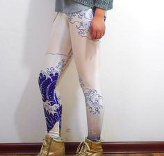 Hokusai Wave Printed Leggings Yoga Pants Womens by TheMoonBoat