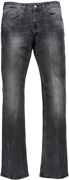 Feminine 5-Pocket-Jeans mit hoher Leibhöhe, mittlerer Oberschenkelweite und geradem Bein. Black Stretch Denim: 99 % Baumwolle, 1 % Elasthan....