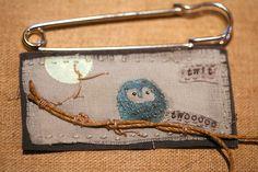 Twit The Owl - Handmade Vintage Fabric Kilt Pin... - Folksy