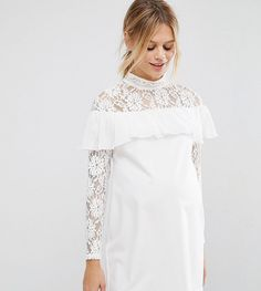 bcd7c1c09ea Queen Bee Shift Dress With Lace And Ruffle Detail - Cream
