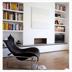 Chimney breast incorporated in storage. Prob don't want more bookshelves in alcoves, as will have these in family room Alcove Storage, Alcove Shelving, Book Shelves, Fireplace Bookshelves, Home Fireplace, Fireplace Ideas, Fireplaces, Snug Room, Chimney Breast