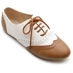 Ollio Women's Classic Dress Oxfords Low Flats Heels Lace Up Multi... ($18) ❤ liked on Polyvore