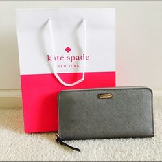 ✨Brand new! Kate Spade Neda Newbury Ln Anthracite Versatile, durable and yet classy, this wallet can fit all essentials and keep you looking on point! Great for work and going out! Comes with shopping bag. Saffiano leather. kate spade Bags Wallets