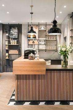 service counter, interior, café, wood, Primo Cafe Bar Tübingen by DIA – Dittel Architekten Restaurant Design, Deco Restaurant, Modern Restaurant, Cozy Coffee Shop, Coffee Shop Design, Coffee Shops, Coffee Coffee, Coffee Beans, Café Bar