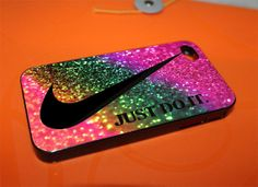 Plastic Case for iPhone 4/4S, 5/5S and iPhone 5C, Samsung Galaxy S3 and S4 Custom nike just do it rainbow glitter