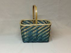 Hand Woven Square Basket Twill Design in Teal by DiannesBaskets
