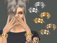 Shine metal spikes cuffs on both hands.Found in TSR Category 'Sims 4 Female Bracelets' Metal Bracelets, Metal Jewelry, Jewelry Sets, Maxis, Sims 4 Piercings, Sims 4 Male Clothes, Spike Bracelet, Metal Spikes, Sims Community