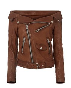 Faith Connexion Off The Shoulder Leather Moto Jacket: A perfectly structured moto inspired leather jacket with a modern off the shoulder cut. Off center zip closure. Self belt at hem. 4 1/2 zip at long sleeves. Three zip pockets. Lined. In brown. Fabric: 100% lamb leather Lining: 100% viscose Made in ...