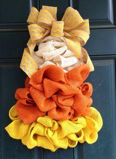 Candy Corn Burlap Wreath by tiffanynewcomb on Etsy