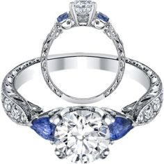 Blue Sapphire Pear shape side stones Hand engraved White Gold band