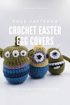 Check out these cute Disney themed Easter egg cody designs. For a quick, unique addition to any egg hunt or gift this Easter Minion Eggs, Minions, Toy Room Organization, Mike From Monsters Inc, Free Crochet, Crochet Toys, Toy Story Alien, Baby Christmas Gifts, Easter Crochet