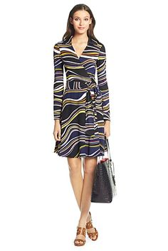 T72 Silk Jersey Wrap Dress In Marble Stripe Horizontal