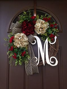 Year Round Boxwood Wreath with Cream and Burgundy Hydrangeas- All Season Grapevine Wreath with Initial - Monogram Wreath for Front Door