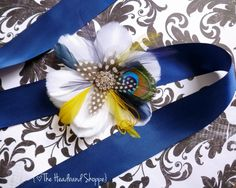 Navy Blue and Yellow Peacock Feather Bridal by TheHeadbandShoppe, $72.00