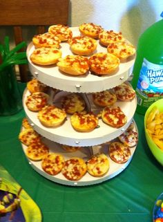 TMNT BIRTHDAY Could do with flattened biscuits & have build your own pizzas for the kids & still order pizzas for adults.