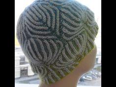 """Шапка Бриошь   из Кауни """" листья"""" (Brioche knitting cap)"""